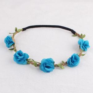 Elasric blue rose flower headband
