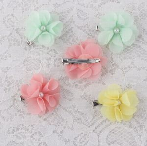 Mini rhinestone chiffon flower hair clip set supplier