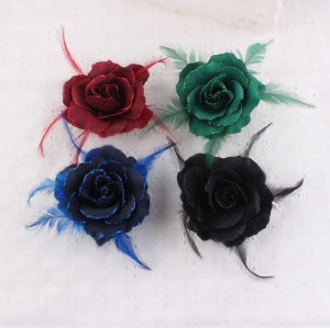 Party hair decorations colors big silk rose hair flower clip with feather brooch
