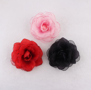 Party hair ornaments glitter colors large silk flowers hair pins