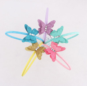 Handmade rhinestone colors childrens butterfly hair bands with best wholesale price