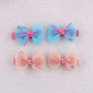 New design colors chiffon kid mini bow hair clip