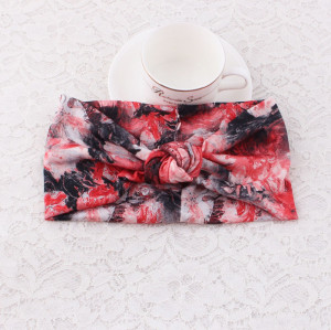 Red sport floral printed knot turban headband