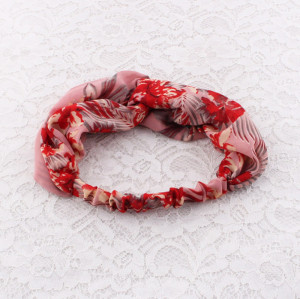 Chiffon red floral printed headband for yoga