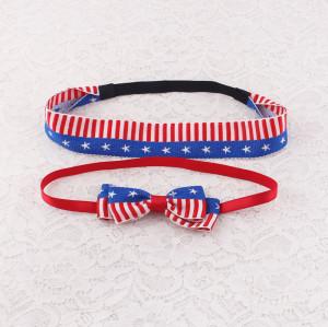 Flag printed baby ribbon bow head band set