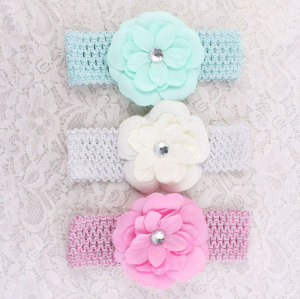 Wide mesh flower crown headbands for toddlers