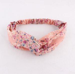 Peach pastelchiffon floral headband for yoga