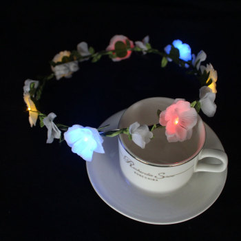 White rose light up led flower crown