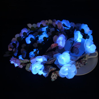 Custom LED light up flower crown with butterfly