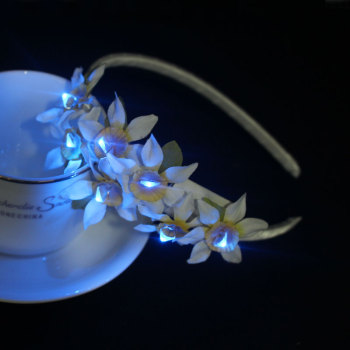 Custom flashing orchid LED light up flower headband