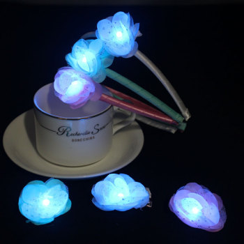 Logo Custom colors rose led light up flower headband set