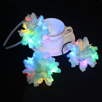 Carnation led light up flower headband led flower bun crown