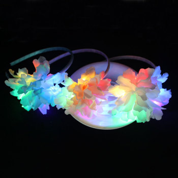 Blue/pink/white carnation led light up flower hair band