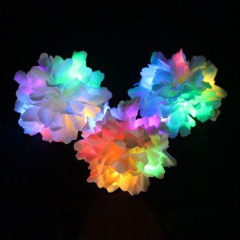 Blue/pink/white carnation led light up flower hair tie