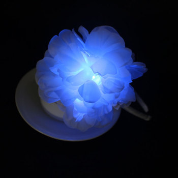 White led light up flower hair band for wedding