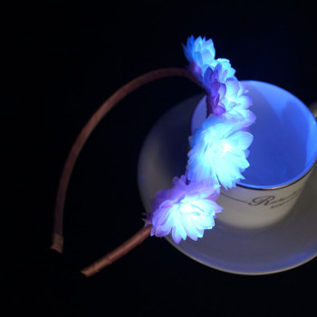 White & Pink daisy led light up flower hair band for wedding