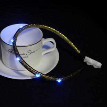 Gold/black led light up hair band supplier