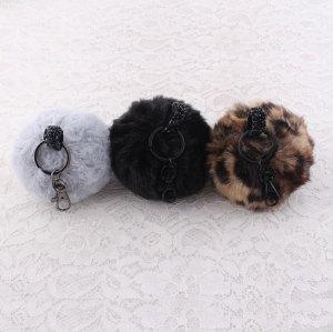 Handbag key ring car key ring faux fur pompom keychain