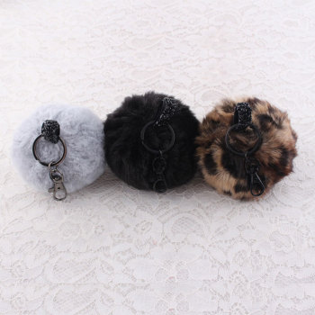 Handbag key ring car key ring faux fur pompom keychain