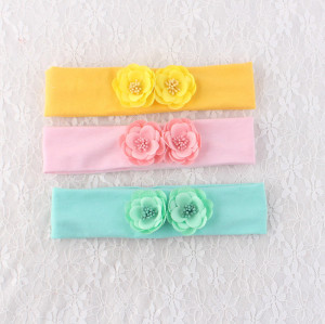 Pink/mint green/yellow flower headbands for toddlers