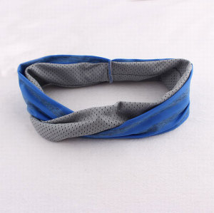 Blue and grey wide yoga headband for women