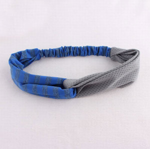 Blue and grey splicing yoga elastic headband sports