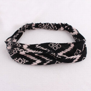 Chiffon black sport wavy stripe printed headband