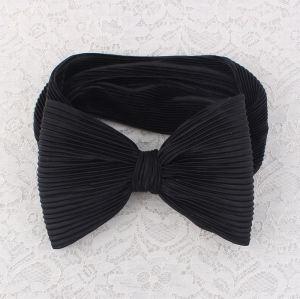 Black chiffon ruched bow head wrap