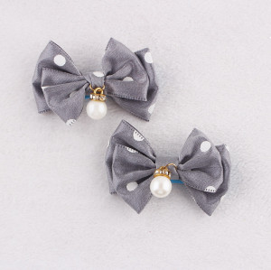 Grey polka dot baby girl bow hair clips
