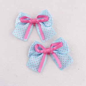 Blue polka dot bow hair clip for kids