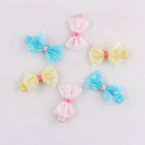 Tulle cream mini baby bow hair clips
