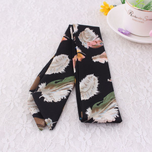 Feather printed chiffon scarf headband twilly scarf