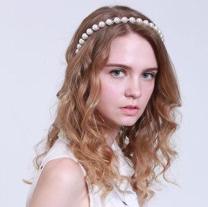 Chiffon ribbon ivory pearl hair band