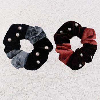 Velvet velvet scrunchie hair tie with pearl