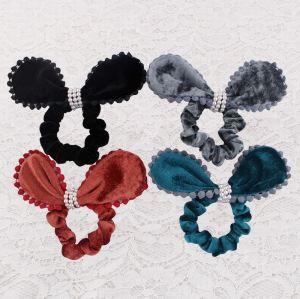 Velvet bunny ear scrunchie hair tie with pom pom