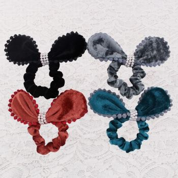 Velvet bunny ear scrunchie hair tie with pom pom