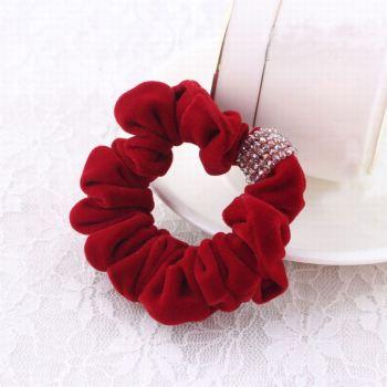High quality velvet beaded scrunchie hair tie
