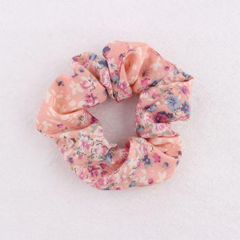 Chiffon pink elastic hair scrunchie for sale
