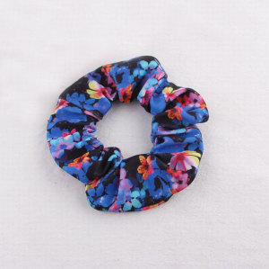 New style silk-screen floral hair scrunchie for hair