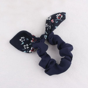 Children chiffon floral bunny ear hair tie
