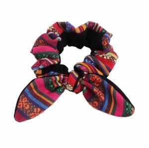 Multicolor boho bunny ear guatemalan hair scrunchies vintage hair tie