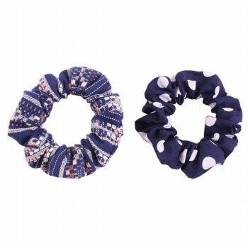 Multicolor guatemalan hair scrunchies polka dot set