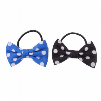 Blue/Black Polka Dot Print Bow Hair Tie