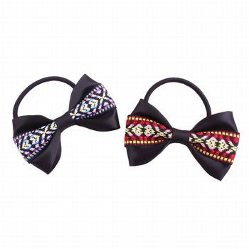 Boho ethnic ribbon bow hair tie supply