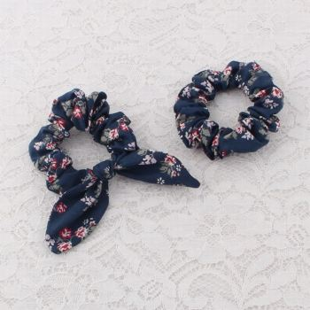 Wholesale floral bunny ear hair scrunchie set