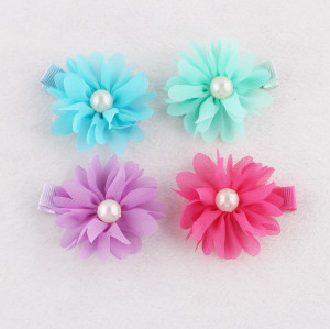 Bridal fabric hair flowers colors lace chiffon hair clips