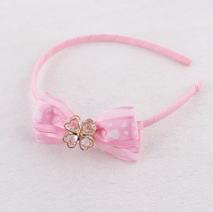 Sweet pink girl ribbon bow hair band with flower crystal