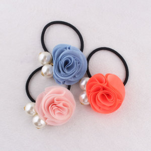 High density chiffon rose flower elastic hair ties with big pearl