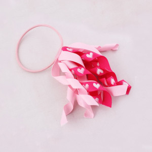 Curled ribbon hair tie for girls