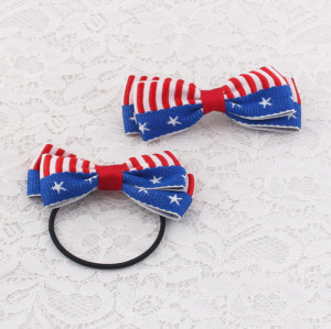 American flag bow ponytail holder banana hair clip set